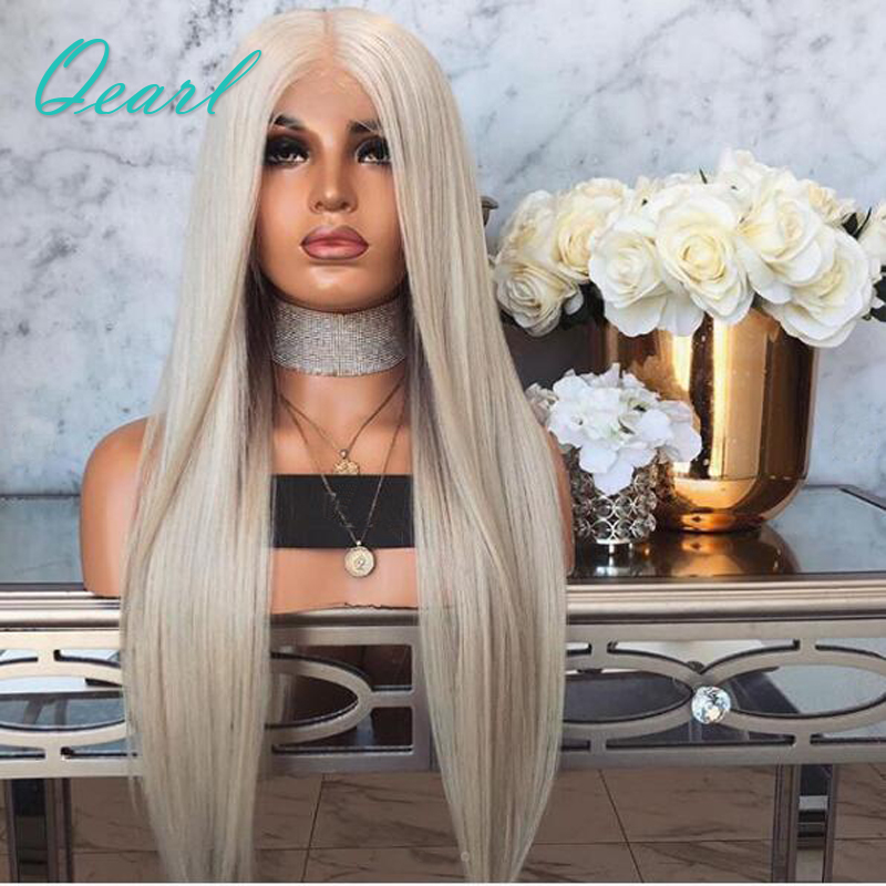 Platinum Blonde Silky Straight Full Lace Human Hair Wigs Pre Plucked Middle Part Remy Hair Soft And Thick Full Lace Wig Qearl