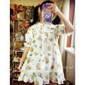 Original design Japanese soft sister [Trojan Bear ] playful retro vintage dress Cute Peter Pan collar Dress