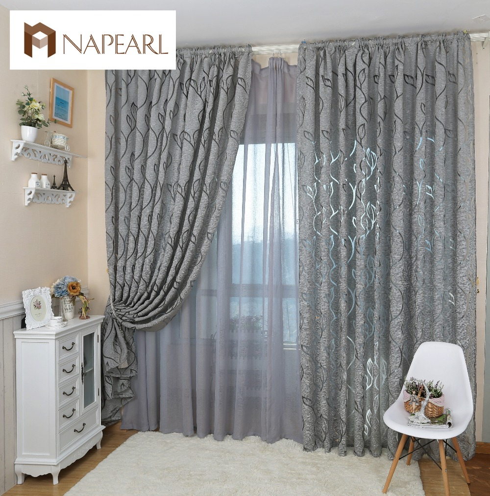 Leaf Style Design Jacquard Curtain