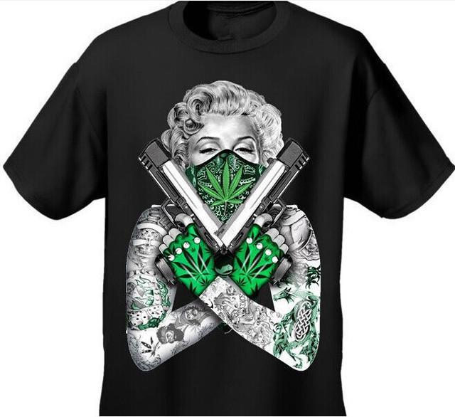 New Arrival Mens Tshirt Weed Bandana Marilyn CROSSED PISTOLS POT LEAF 420 TATTOOS Design Cotton Tops Tee For Men Women T Shirt