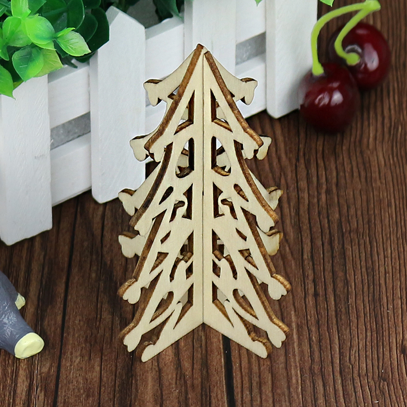 2 Style Natural Wood Chrismas Tree Craft for Festival Party Home Decoration Handmade Creative Wood Tree ...