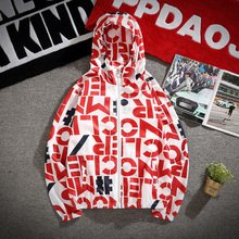 Summer New Thin Jacket Men Sunscreen Fashion Letter Printing Casual Hooded Street Hip Hop Loose Bomber M-3XL