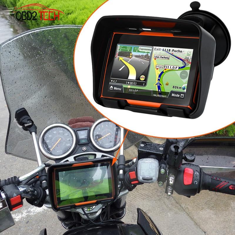 256 M RAM 8 GB Flash 4.3 pouces Moto GPS navigateur étanche Bluetooth Moto gps Navigation de voiture cartes gratuites