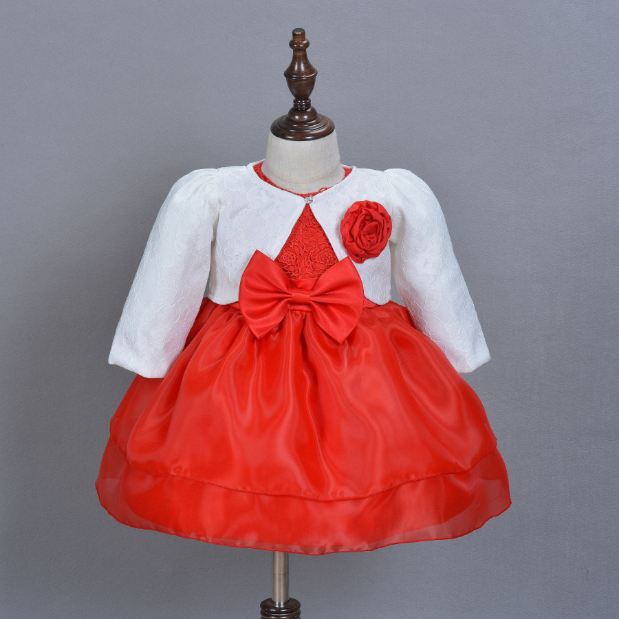 0-2T Baby Girls 2 Piece Sets Flower Princess Dress Baptism Dress with Blazer Coats 2016 Autumn White Red First Communion Gowns