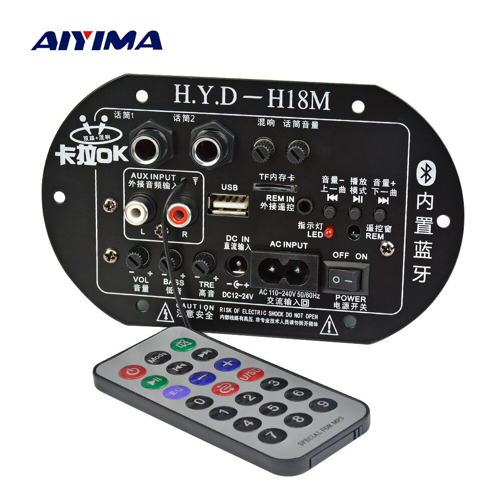 AIYIMA Mono Subwoofer Amplifier Board Dual Microphone K Song Bluetooth Amplifier 30-150W For 6-10Inch Speaker 220V 12V 24V