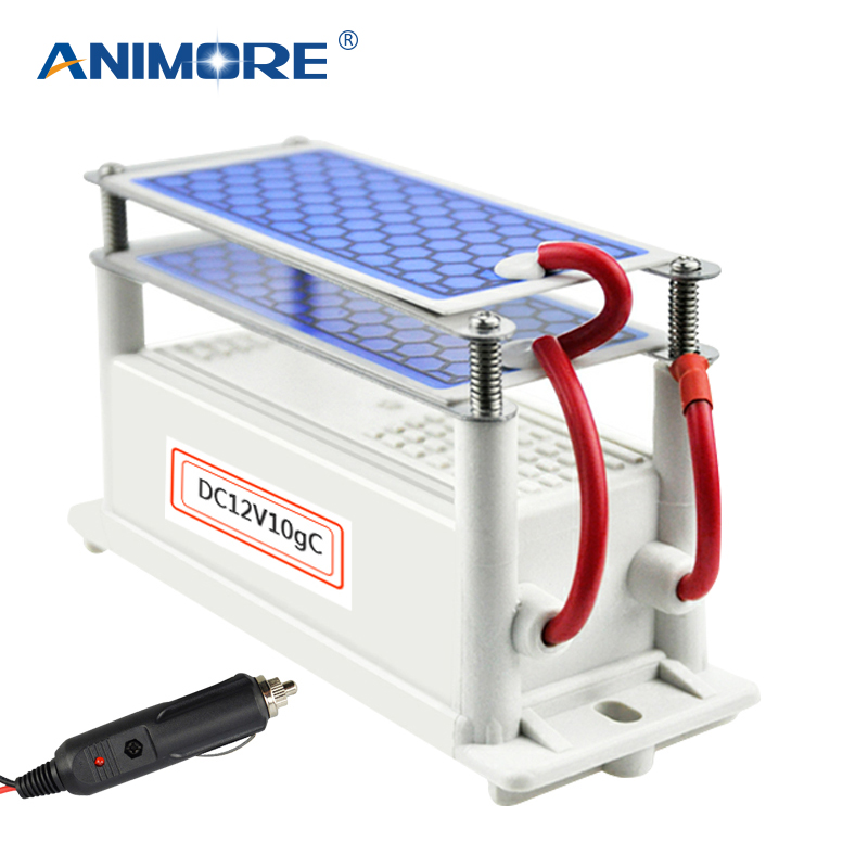 ANIMORE Newest DC 12v 10g/5g Car Ozone Generator Air Purifier Ozonizer Cleaning Ozone Ceramic Plate Air Sterilizer AP-08 dc 220v 10g h ozone generator double ceramic plate water air purifier sterilizer for home car ozone generator air sterilizer