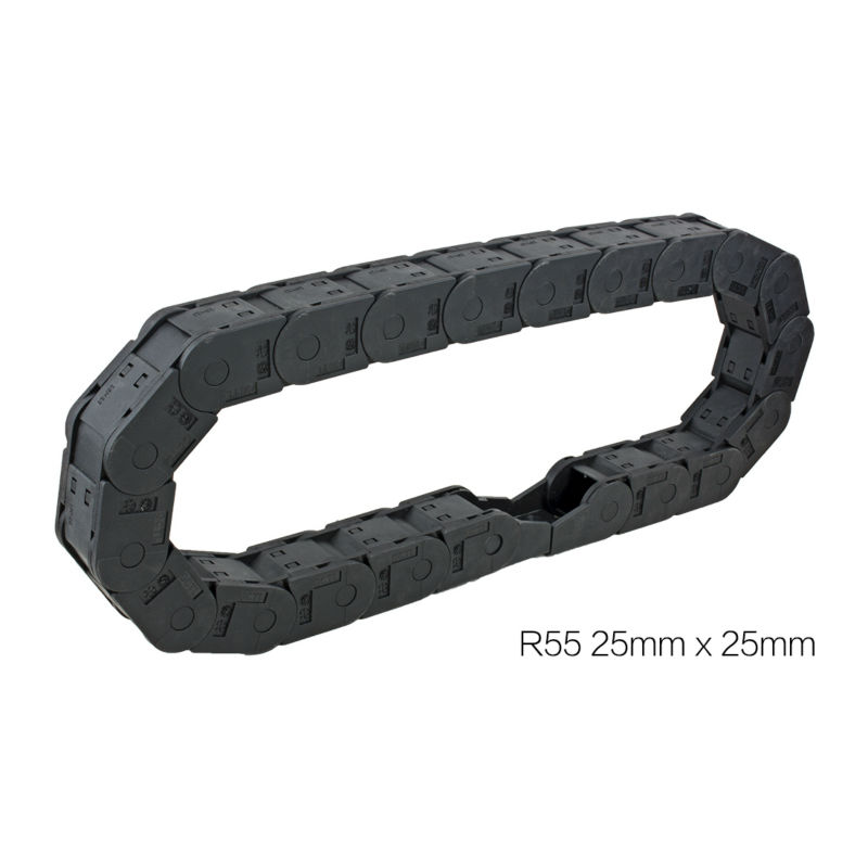 UXCELL 25x25mm R55 1M Length Black Plastic Closed Can Open Cable Drag Chain Wire Carrier for 3D Printer CNC Router Machine Tools 15mm x 40mm r28 plastic cable drag chain wire carrier with end connector length 1m for 3d printer cnc router machine tools