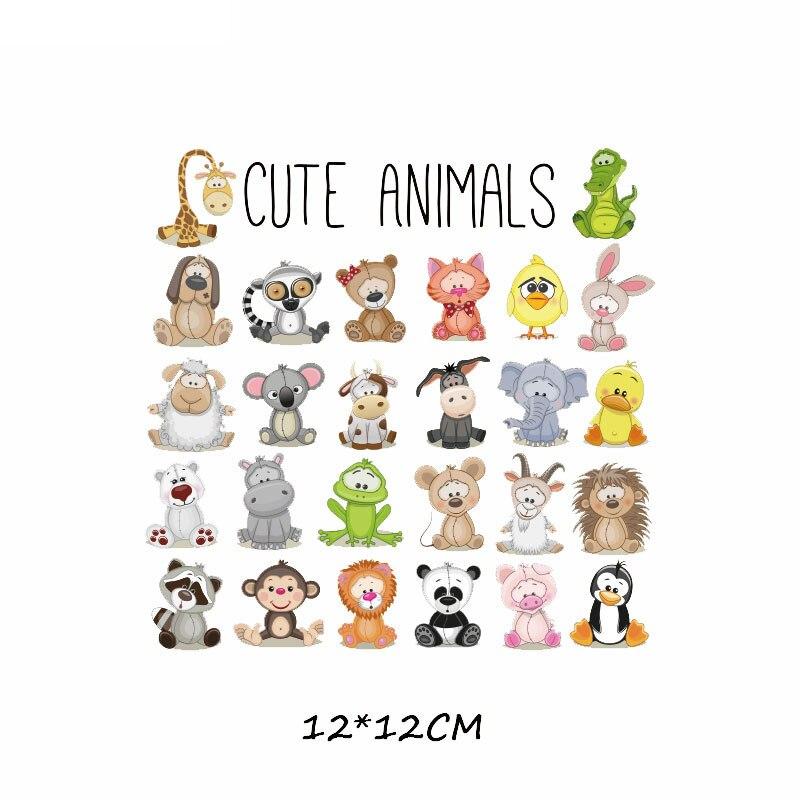 Набор патчей с изображением животных из мультфильмов, милые патчи с изображением единорога, кошки, совы, собаки, цветов для детей, одежда для девочек, футболка, сделай сам, термопресс - Цвет: 348