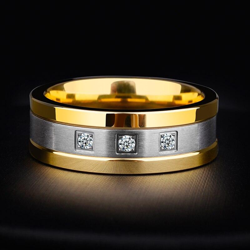 Nouveauté 8mm anneaux de tungstène pour hommes plaqué or bandes de mariage deux tons 3 CZ pierre promesse mariage taille 7-12 pour la mariée - 3
