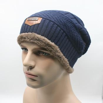 Fashion Men Beanies Knit Cap Winter Hat For Man knitted Caps Boys Thicken Skullies Fashion Warm