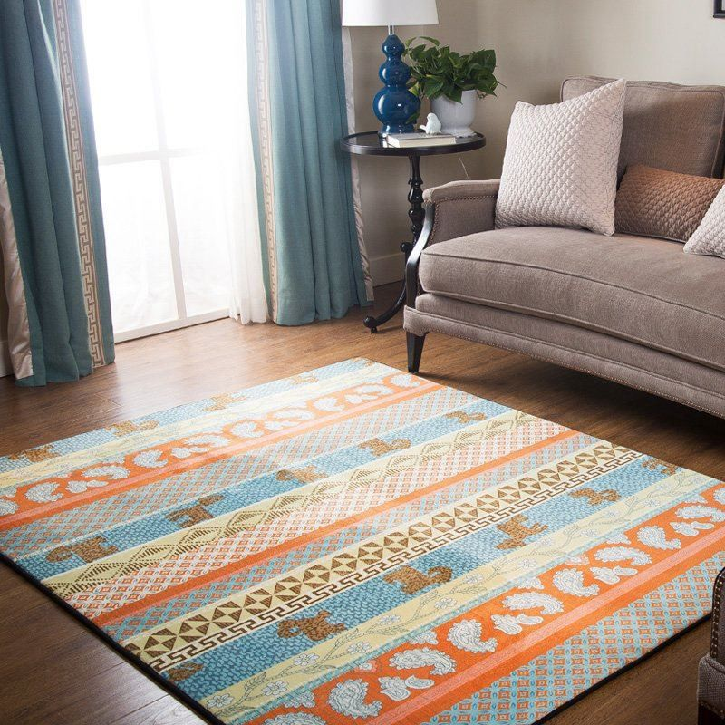 Vintage Geometric Striped Carpet Chinese Classic Style Living Room Bedroom Tea Table Soft Rugs Non-Slip Household Rectangle MatVintage Geometric Striped Carpet Chinese Classic Style Living Room Bedroom Tea Table Soft Rugs Non-Slip Household Rectangle Mat