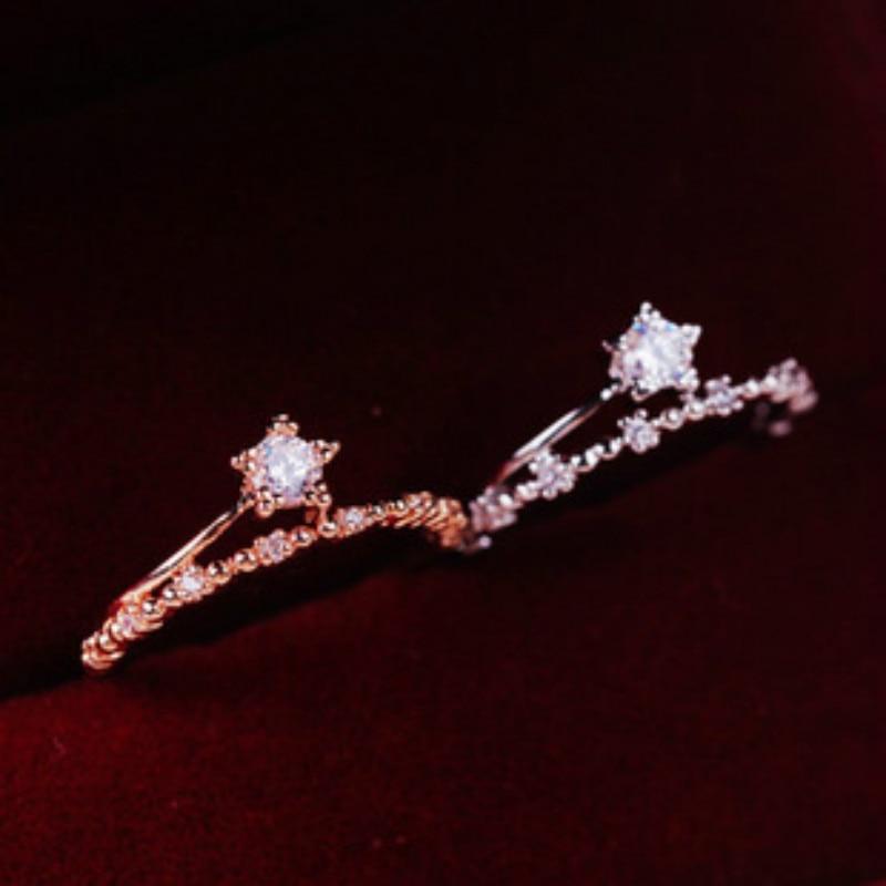 Hot Sale Fashion Style Star Ring 2017 Shining Cubic Zircon Rings for Women Bijoux Femme Luxury Jewelry Ringen Voor Vrouwen