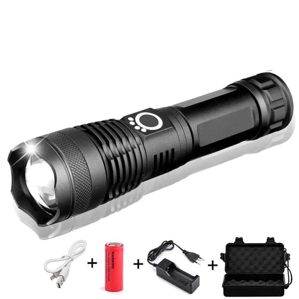 40000 Lumens XHP50 Powerful LED Flashlight USB Zoom LED Torch Power Reminder XHP70 18650 26650 Rechargeable Battery Hunting Lamp
