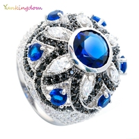 Luxury Noble Wedding Rings Fashion Show Studded CZ Diamond Inlay Austrian Crystals Ring Top Quality Fine