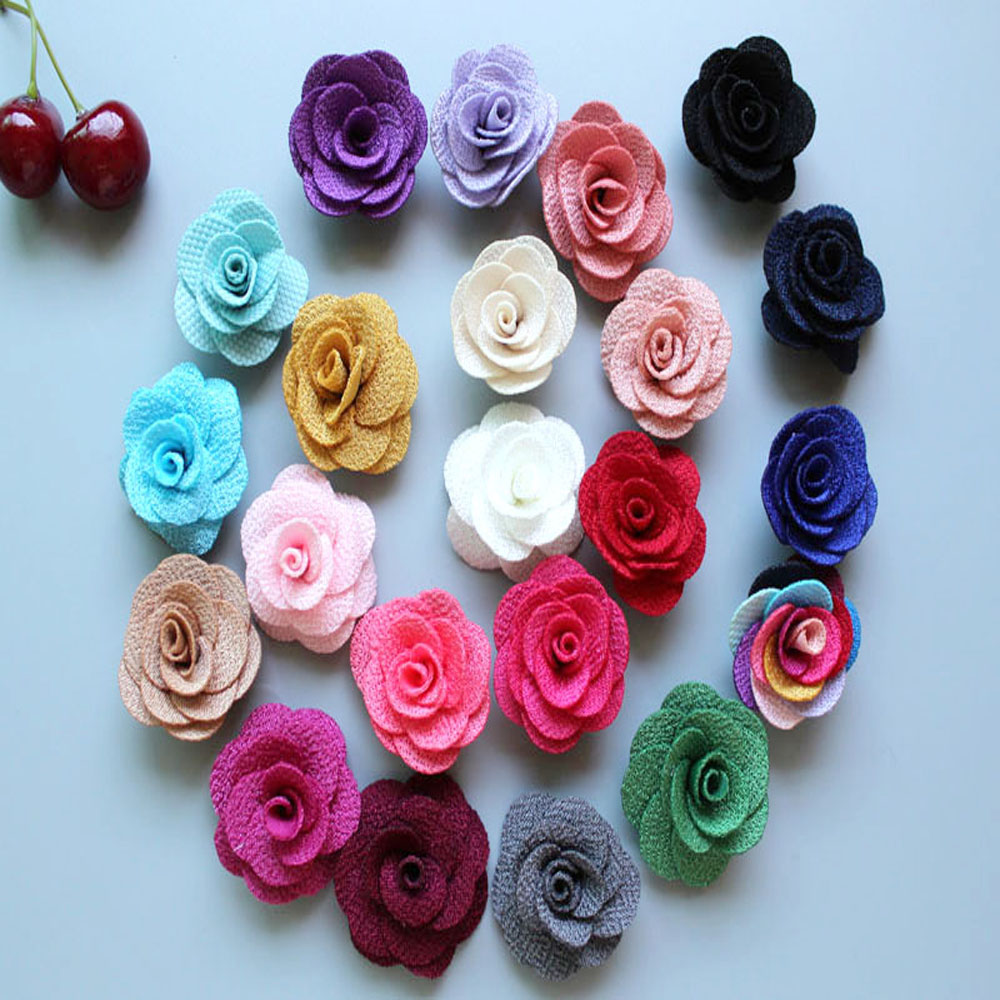 new arrival 4cm Mini Burlap Flowers felt back,Fabric Flower, Rosettes, DIY, Hair Accessories Baby Headbands 300ps/lot