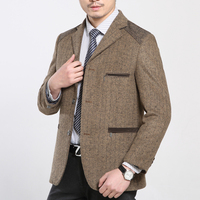 Autumn And Winter Warm Woolen Suit Blazer Men Jacket Coat Khaki Blazer Masculino Slim Fit Business Casual Outerwear Plus Size
