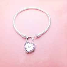 5ab7ada0a 925 sterling silver Heart-Shaped Moments Silver Lock Your Promise Heart  Clasp pandora Bracelet For Women Snake Chain bracelet