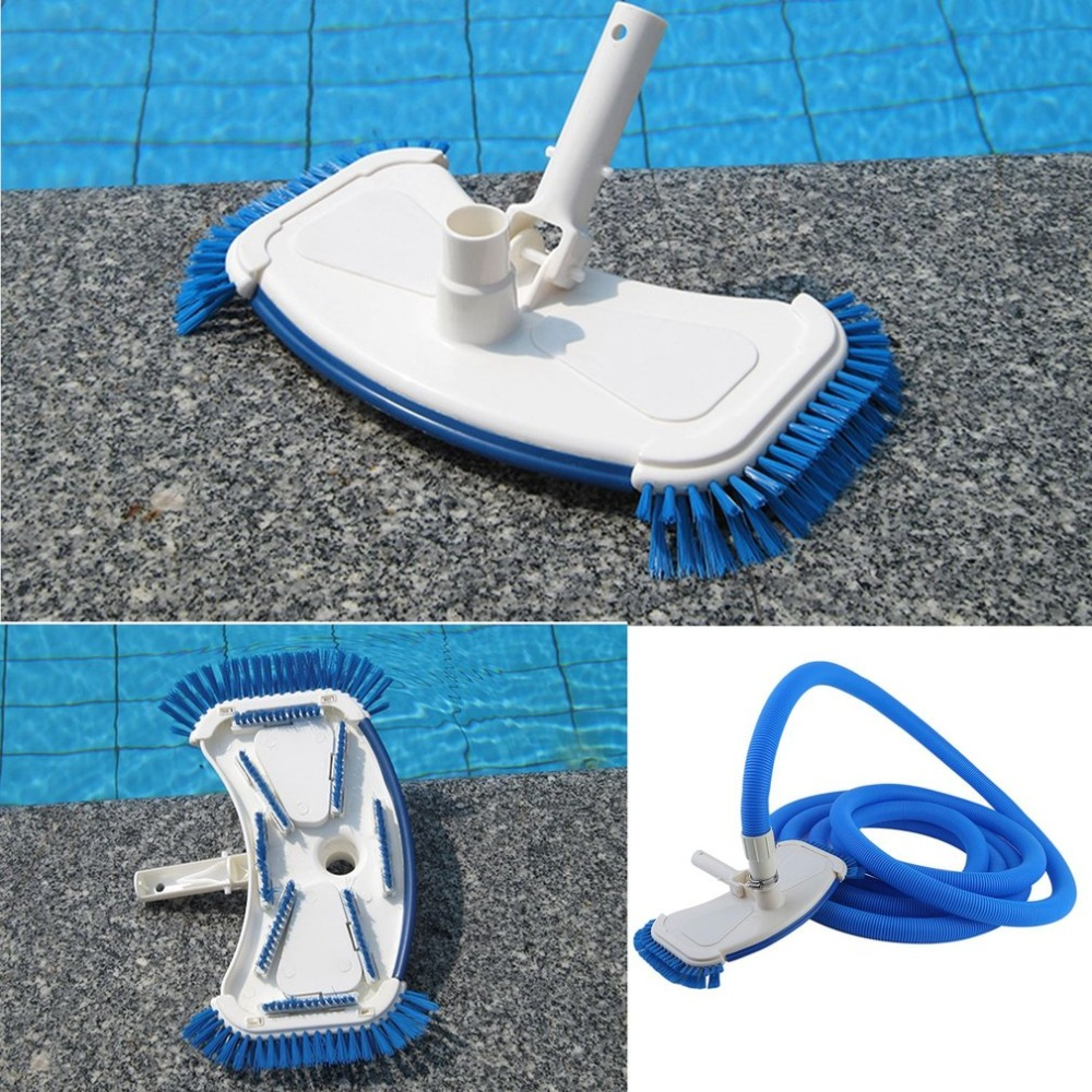 (DE) portable Piscine Nettoyant Pour Plancher Ensemble Durable Piscine Sucer Brosses Aspirateur Avec 7 m Tuyau Léger Mur Brosse