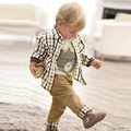 3Pcs One Set Cotton Boys fashion clothing plaid Shirt+T-shirt+Jeans Pants Disfraces Infantiles  Ensemble Garcon