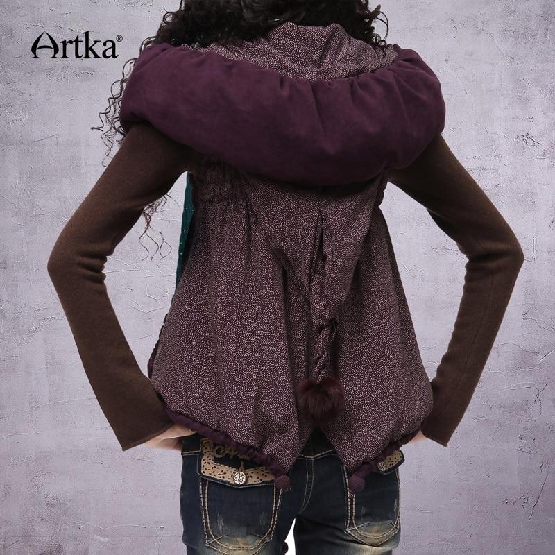 Kadın Giyim'ten Basic Ceketler'de ARTKA Kadın Kolsuz Ceket Ceket 2018 Sonbahar Giyim Hood Ile Vintage balon ceket Pom Pom Ile Kış Giyim WA10123D'da  Grup 1