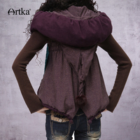 ARTKA Women Sleeveless Jacket Coat 2018 Autumn Outerwear With Hood Vintage Puffer Jacket With Pom Pom Winter Outerwear WA10123D