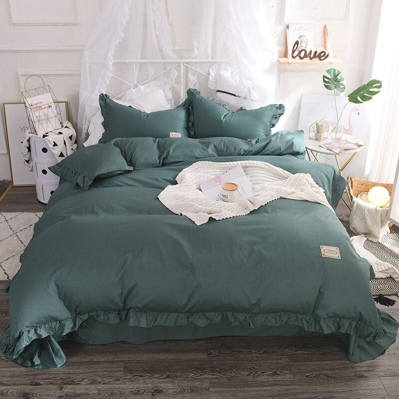 Green Ruffle 100 Cotton Bedding Set King Size Twin