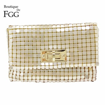 Boutique De FGG Gold Aluminium Crossbody Handbag