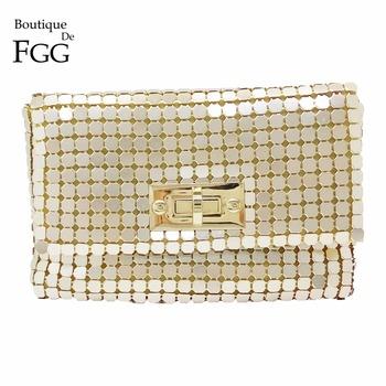 10beabaaa03e Read More Boutique De FGG Gold Aluminum Women Fashion Chain Shoulder  Crossbody Handbag and Purse Evening Envelope Clutch Party Dinner Bag