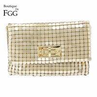 Women S Fashion Flag Handbags Golden Metallic Aluminum Clutch Evening Dinner Banquet Shoulder Purse Crossbody Messenger