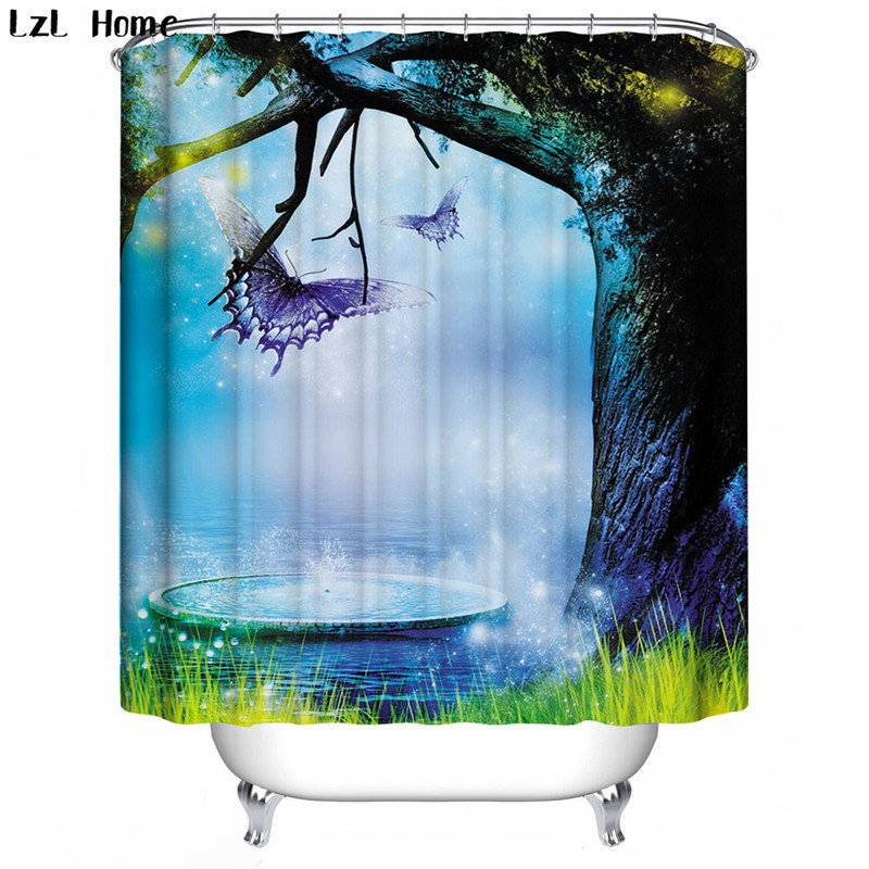Woods Christmas Shower Curtain 3d Modern Creative ForestTree Waterproof Fabric Bath Curtain For Bathroom Hook Home Decoration