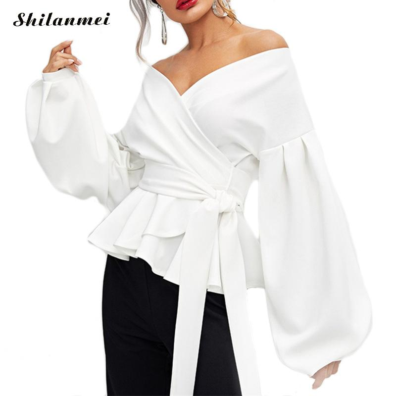 Women's Clothing 2018 Womens Blouse Sexy Strapless Lantern Sleeve Shirt Bow Waist Shirt Female Off Shoulder Ruffles Bandage Lace Up Bow Shirt
