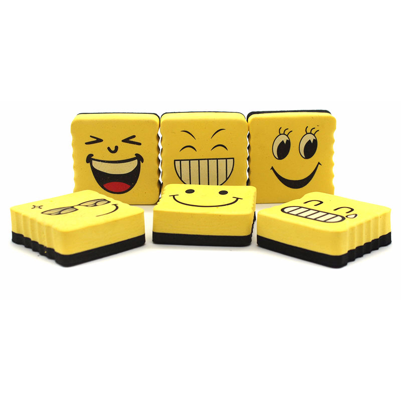 1 Pcs Yellow Smiling Face EVA Sponge Magnetic Whiteboard Eraser Square Cartoon Expression Erasable Blackboard Marker Cleaner(China)