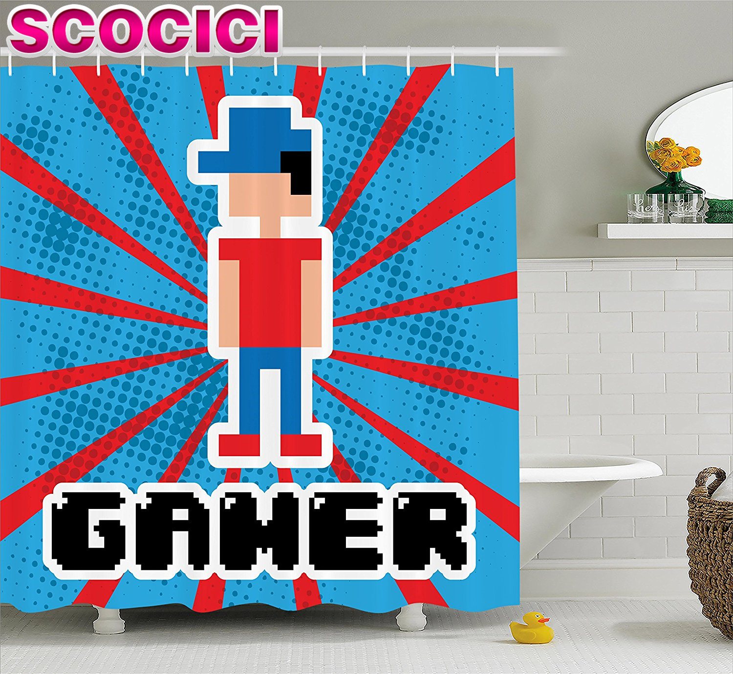 video games shower curtain set blue and red stripes boom beams retro 90s style toys boy with cap gamepad fabric bathroom decor r