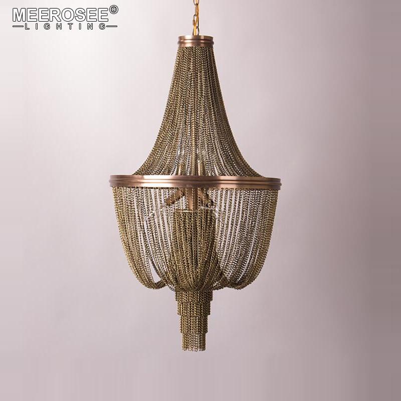 New Arrival Italian Design Chandelier Vintage Aluminum Chain Hanging Lustre Light For Restaurant Hotel Art Studio Bedroom Lamps