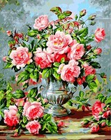 MaHuaf X808 Pink Flowers In The Vast Still Life Painting Coloring By Numbers DIY Hand Painted