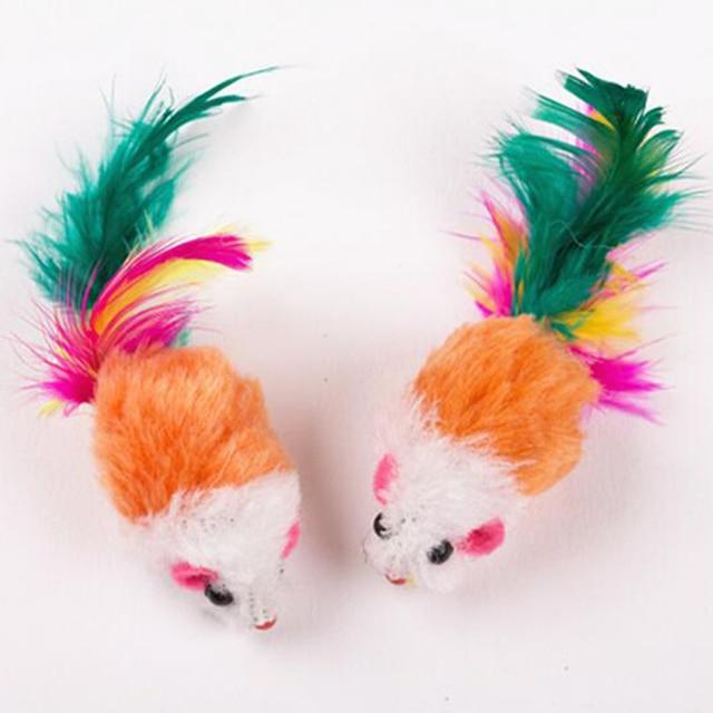 10 Pz Divertente Morbido Pile False Mouse Giochi Per Gatti Colorful Feather Giocare Gattino Giocattolo Colore Casuale