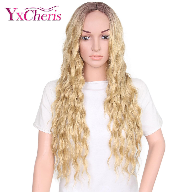Yaki Curly Wigs For Women Ombre Hair Wig Female Heat Reisistant Fiber Synthetic Long Wig Cosplay YXCHERIS