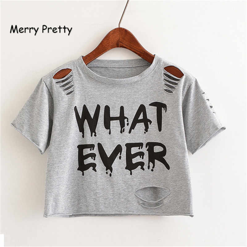 f89a800e740c Merry Pretty New Summer Fashion Women T-Shirt WHAT EVER Letter Printed  Hollow Hole Ripped