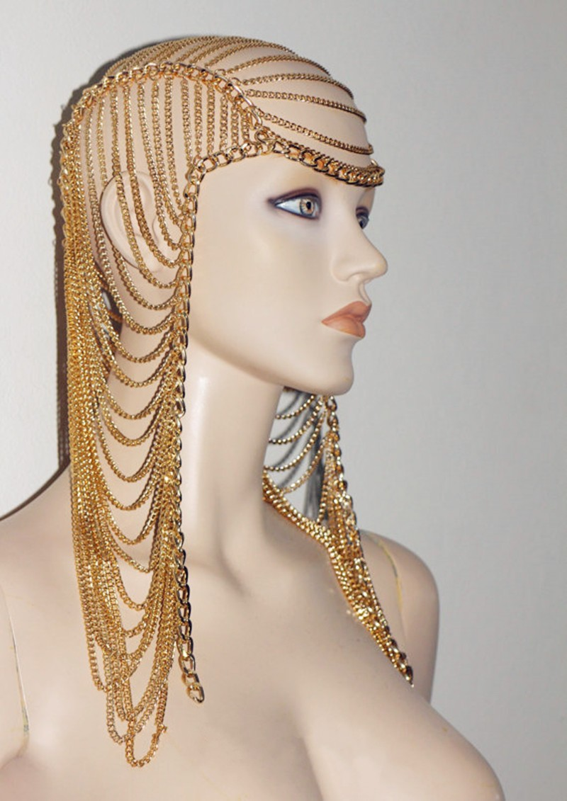 Женская многослойная тиара золотая цепочка для волос в стиле