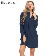 Ekouaer 100% Cotton Sleepwear Nightdress Spring Autumn Women Long Sleeve Button Down Sleepshirt Nightgown Sleep Lounge Dress