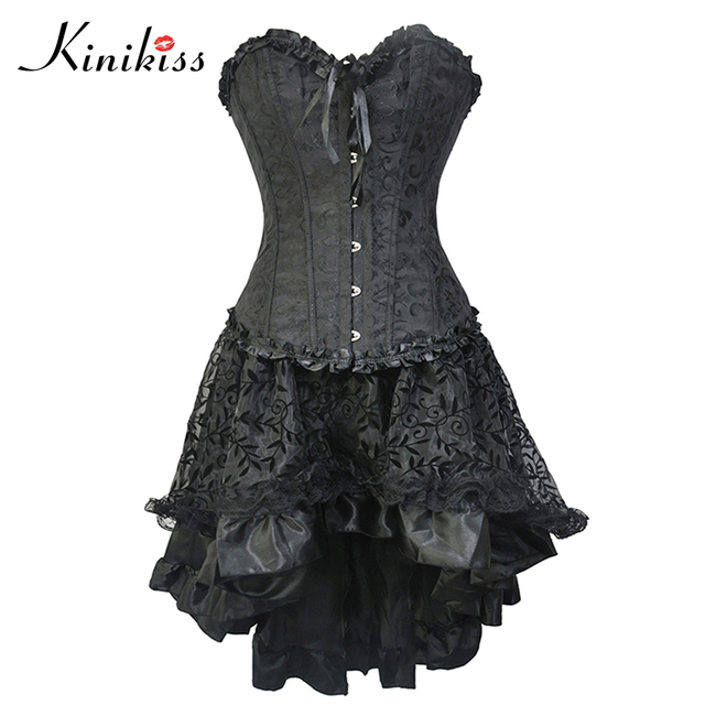 Women Sexy Bustier Corset Black Corset Dress Mesh Embroidery Lace Up