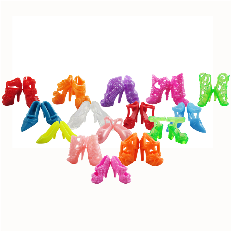 Random 10 Pair Barbie Dolls Mixed Fashion Colorful Shoes Heels Sandals Doll Accessories  ...