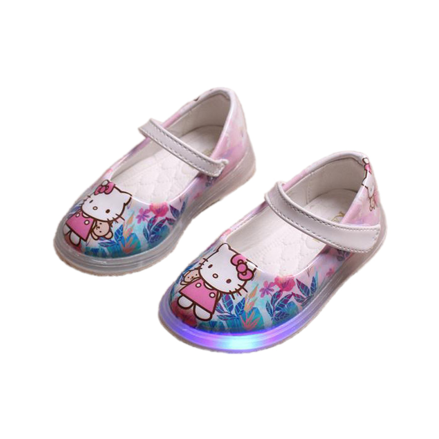 6896c729d cute baby girl causal LED flash shoes lovely hello kitty lighted flat shoe  for 1-6yrs girls children kid night multicolor shoes