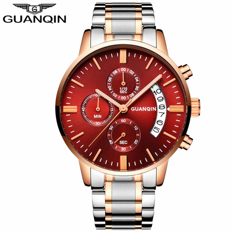 Mens Watches Top Brand Luxury GUANQIN Watch Men Sport Full Steel Quartz Watch Man Fashion Luminous Wristwatch relogio masculino men watches luxury top brand weiyaqi new fashion big dial designer quartz man wristwatch relogio masculino relojes pengnatate