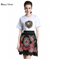 2017 Summer Women S Short Sleeve Bead T Shirt Cross Stitch Embroidery Skirt Skirt Set 170606YL02