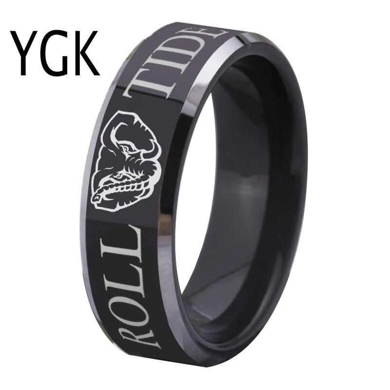 Freies Verschiffen Gewohnheiten Gravur Ring Heiße Verkäufe 8mm Schwarz Mit Glänzenden Kanten Alabama Roll Tide Design Wolfram Hochzeit Ring
