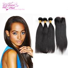 2016 Hot 8a Malaysian Straight Hair With Closure 3 Bundles Jet Black Straight Human Hair With Closure Stema Hair Company