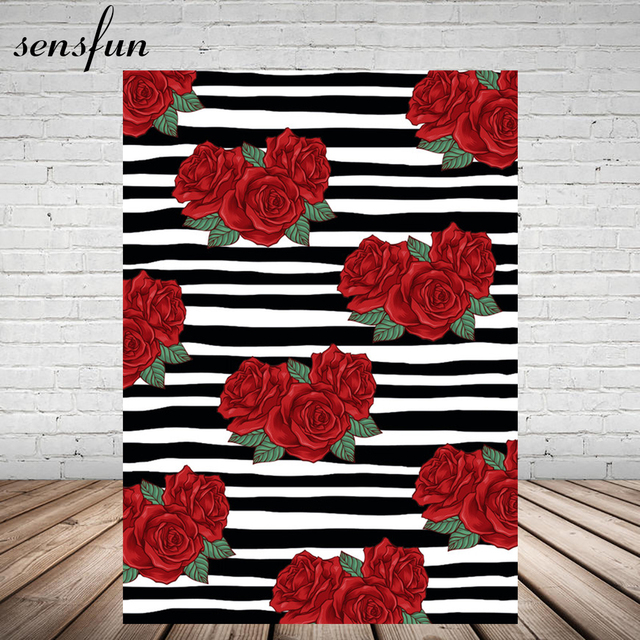 Sensfun Red Rose Flower Photography Backdrop Black And White Striped
