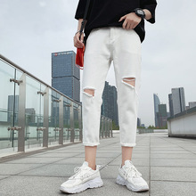 Summer New Jeans Men Slim Casual Fashion Black White Torn Hole Man Streetwear Trend Wild Hip Hop Denim Male Clothes