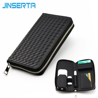 JINSERTA Leather Box Anti Scratch Protective Carrying Case For IQOS E Cigarette Multifunction Zipper Card Holder